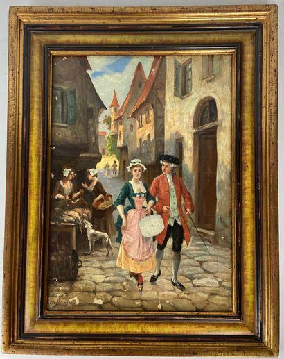 ECOLE FRANCAISE du XIXe siècle Scène courtoise...
