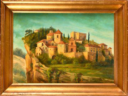 GEORGES LEROUX (1877-1957) Village provençal...
