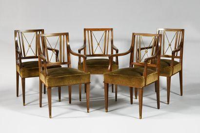 ANDRE ARBUS (1903-1969), Dans le goût de Suite de dix fauteuils néo-classiques en...