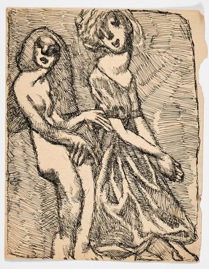 LOUIS SOUTTER (1871-1942) Deux figures debout...