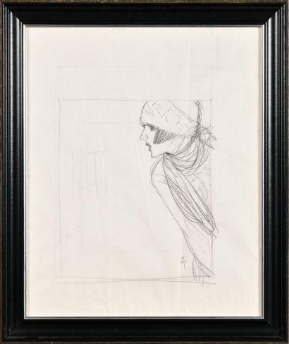 RENE GRUAU (1909-2004) Femme de profil Croquis...