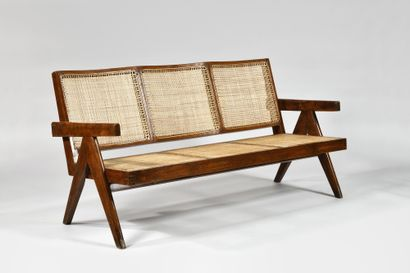 PIERRE JEANNERET (1896-1967) «Easy chairs » Chandigarh, vers 1955 Sofa 3 places...