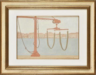 ALDO ANDREOLO (Né en 1926) Paysage vénitien,...