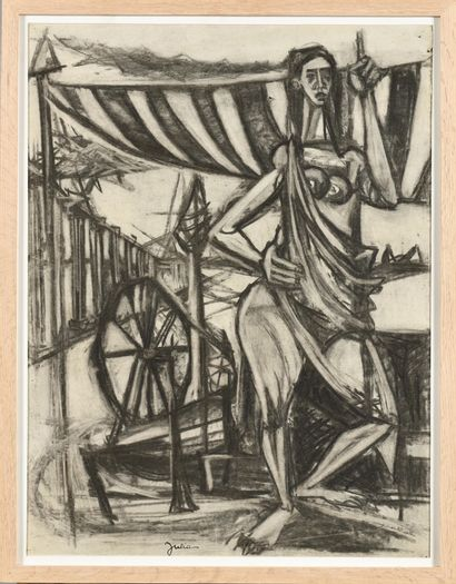 CHRISTIAN JULIA (1921-1991) Femme au rouet,...