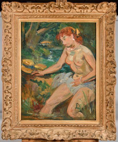 ANDRE PLANSON (1898-1981) Nu au jardin Huile...