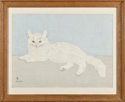 TSUGUHARU FOUJITA (1886-1968) Chat couché,...