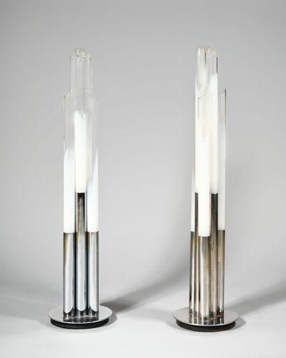 CARLO NASON (Né en 1936) Paire de lampadaires...