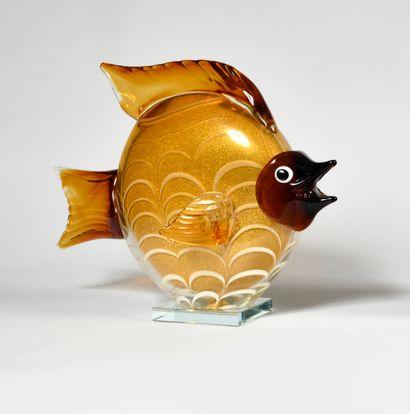 STEFANO TOSO (XXe) MURANO Grand poisson lune...