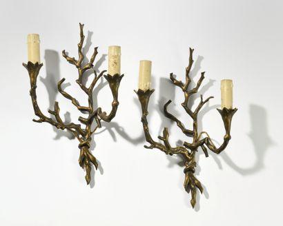 JANSEN Paire d'appliques en bronze patiné...
