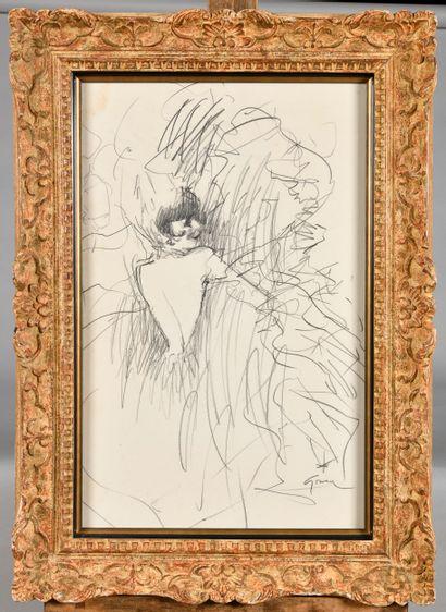 RENE GRUAU (1909-2004) Femme de dos Croquis...