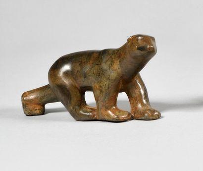PIERRE CHENET (XXe) Petit ours polaire Bronze...