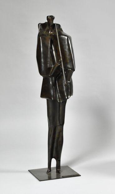 ROGER DESSERPRIT (1923-1985) Musicien Bronze...
