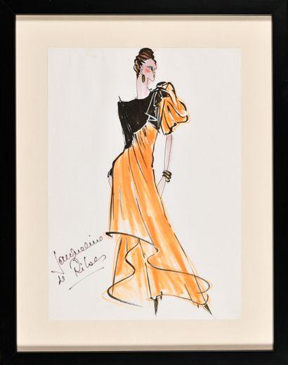 JACQUELINE DE RIBES (Née en 1929) Femme portant...