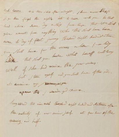 NAPOLÉON Ier. Lettre autographe, en anglais, adressée à Emmanuel de LAS CASES. Longwood...