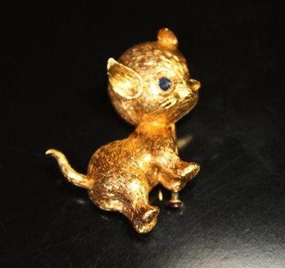 BROCHE en or jaune représentant un chat,...