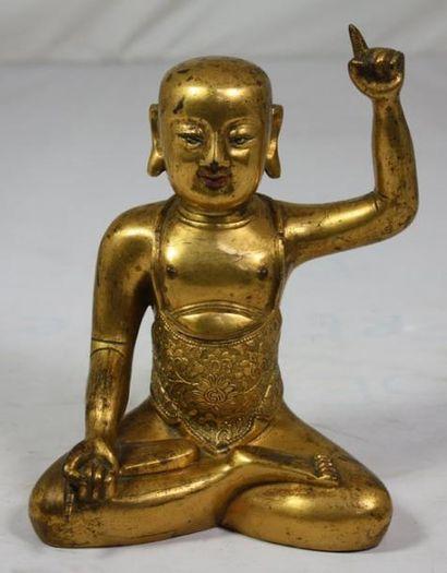 BOUDDHA en bronze doré. Tibet. XVIIIème siècle. H: 20 cm.