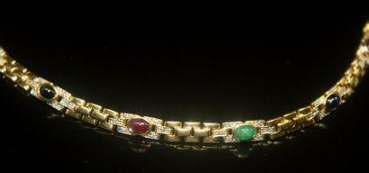 BRACELET ligne en or jaune pavé de diamants,...