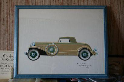 Gouache originale représentant un cabriolet...