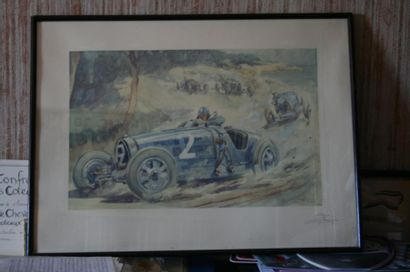Lithographie représentant la Bugatti n¡2...