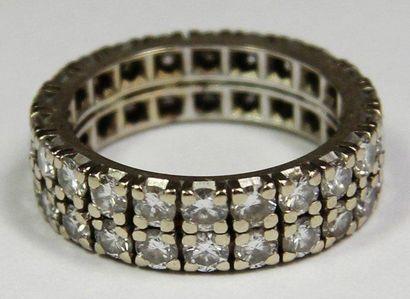 DOUBLE ALLIANCE en or gris ornée de diamants...