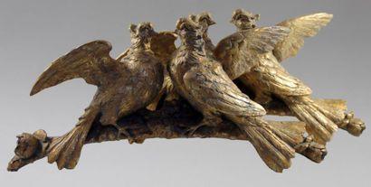 Deux ELEMENTS de DECORATION en bois doré...
