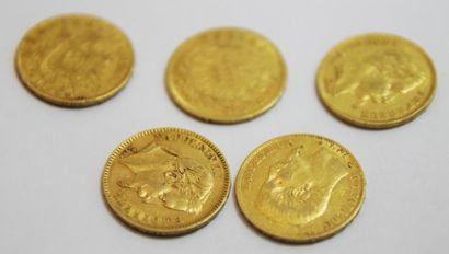 LOT de 5 pieces Napoleon III 1868, 1859,...