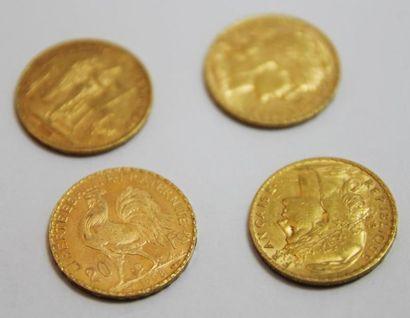 LOT de 4 pieces de 20 francs 1908, 1895,...