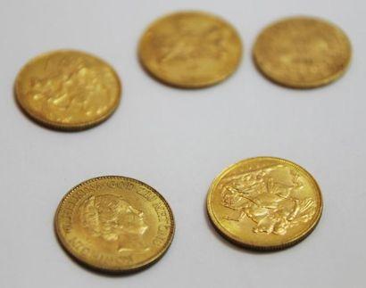 LOT de 5 pieces en or jaune Poids brut :...