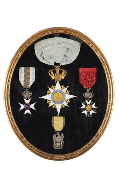Rare bijou de Grand Croix du Général LEFEBVRE DESNOUETTES. Etoile en or à huit branches...
