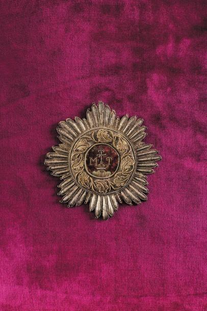 Plaque de Grand Croix de l'Empereur Napoléon Ier. Etoile à huit pointes composée...