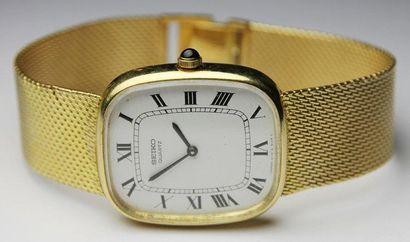 MONTRE en or jaune, la cadran carré, mouvement...