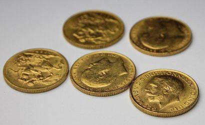 LOT de 5 pièces en or jaune, 2 Georges V,...