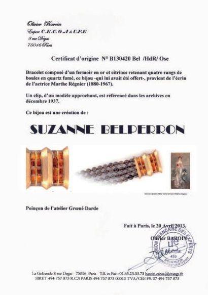SUZANNE BELPERRON BRACELET de quatre rangs de quartz, le fermoir en or jaune orné...
