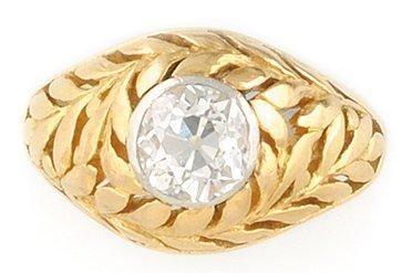 BAGUE en or jaune ornée d'un diamant serti...