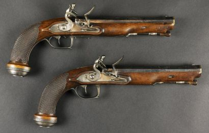 """Longue paire de pistolets à silex d'Officier, de """"Boutet Directeur Artiste de la..."""