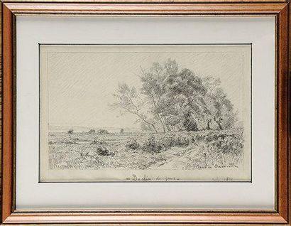 Maurice DAINVILLE (1856-1943) Déclin du jour Fusain Signé en bas à droite Titré au...