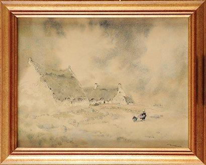 Ernest GUERIN (1887-1952) Brume en Bretagne Aquarelle et lavis Signé en bas à gauche...