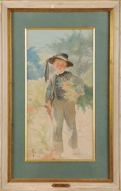 Henry-Jules-Jean GEOFFROY, dit Géo (1853-1924) Le petit Breton Aquarelle Signée en...