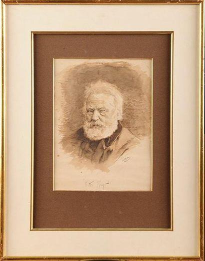 ECOLE FRANCAISE DU XIXème siècle Portrait de Victor Hugo (d'après photographie) Plume,...