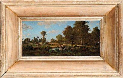 Gabriel-Gervais CHARDIN (1814-1907) Scènes pastorales Paire d'huiles sur panneaux...