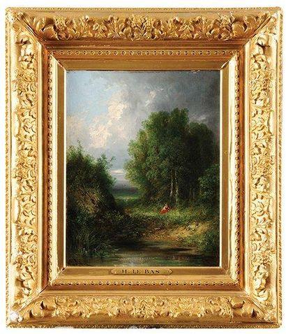 Gabriel Hippolyte LEBAS (1812-1880) Rêverie au bord du lac Sur sa toile d'origine...