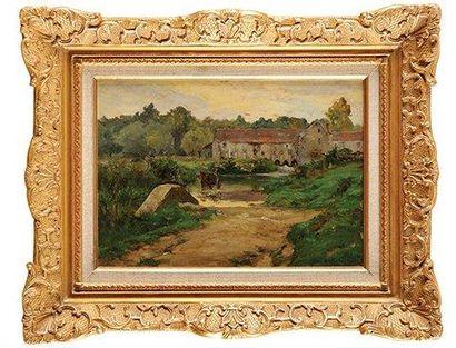 Ernest G. MARCHE (1864-1932) Les Bords du Loing à Souppes, le Moulin de Beaumoulin...