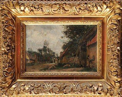 Emile Louis MATHON (c.1855-?) Vue prise à Borneval près de Dieppe Huile sur panneau...