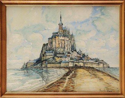 FRANK-WILL (1900-1951) Le Mont Saint Michel Aquarelle, lavis et crayon Signé en bas...