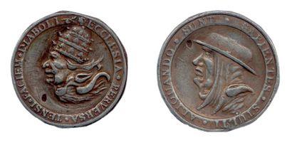 Médaille satirique allemande de la Réforme (Concile de Trente) en étain représentant...