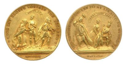 Médaille satirique en bronze doré (Ø 40mm)...