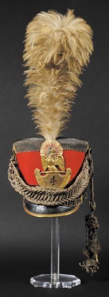 Rare shako d'officier du 4ème régiment de gardes d'honneur. Fut en cuir recouvert...