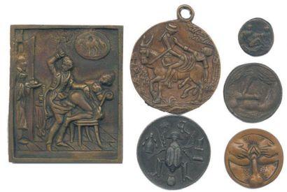 Lot de 6 médailles et plaquette satiriques...