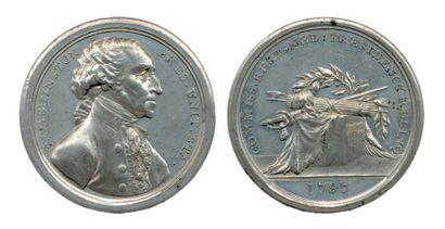 Médaille en métal blanc (Ø 40mm) à l'effigie...