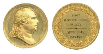 Médaille en or à l'effigie de LOUIS XVIII,...